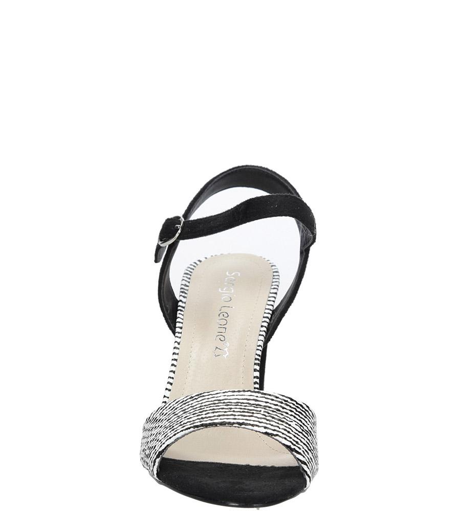 Czarne sandały na szerokim obcasie zebra Sergio Leone  SK820-01X style Zwierzęce motywy