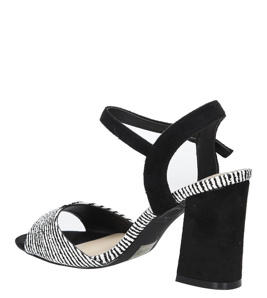 Czarne sandały na szerokim obcasie zebra Sergio Leone  SK820-01X kolor czarny