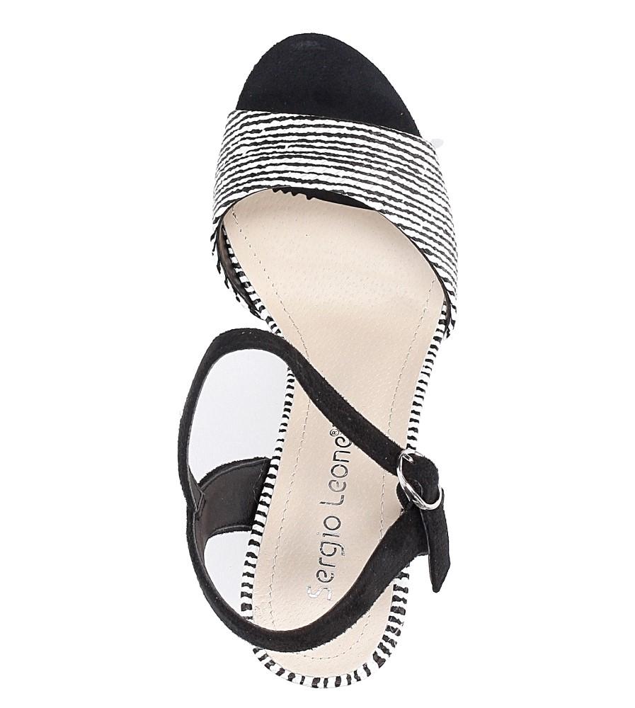 Czarne sandały na szerokim obcasie zebra Sergio Leone  SK820-01X wysokosc_obcasa 9.5 cm