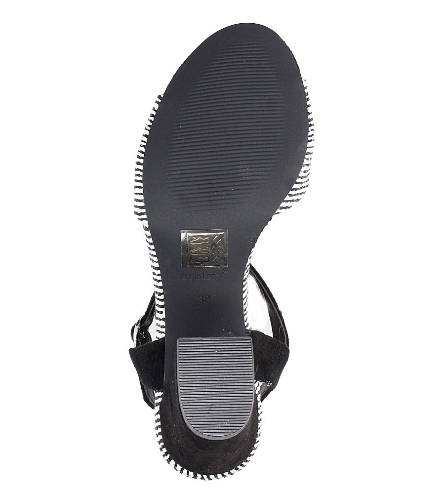 Czarne sandały na szerokim obcasie zebra Sergio Leone  SK820-01X wysokosc_platformy 0.5 cm
