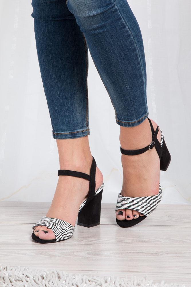 Czarne sandały na szerokim obcasie zebra Sergio Leone  SK820-01X wnetrze skóra ekologiczna