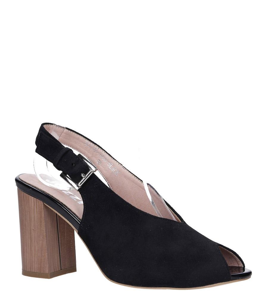 Czarne sandały peep toe na słupku Jezzi 9SD35-0800