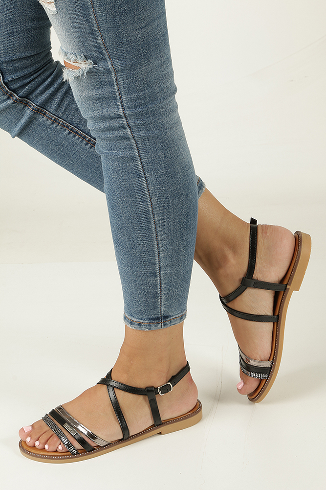 Czarne sandały płaskie Casu LS007
