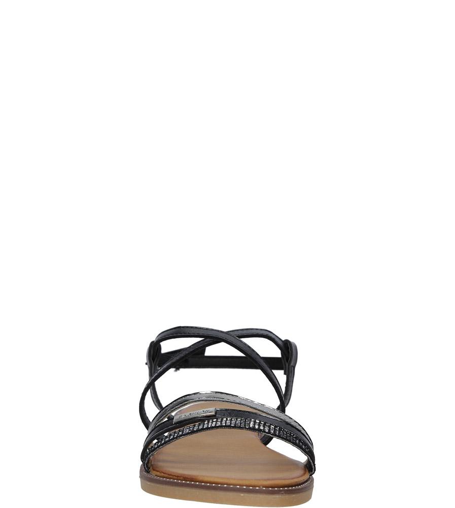 Czarne sandały płaskie Casu LS007  kolor czarny