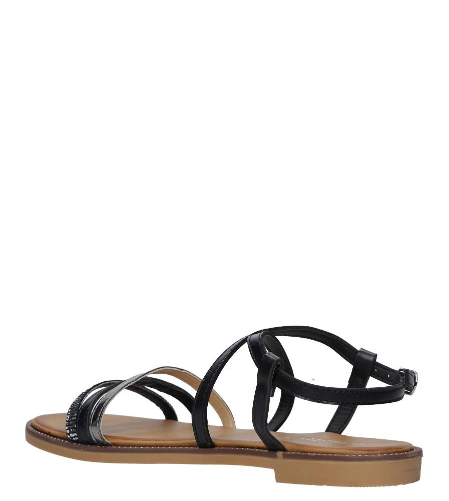 Czarne sandały płaskie Casu LS007  wysokosc_obcasa 2 cm