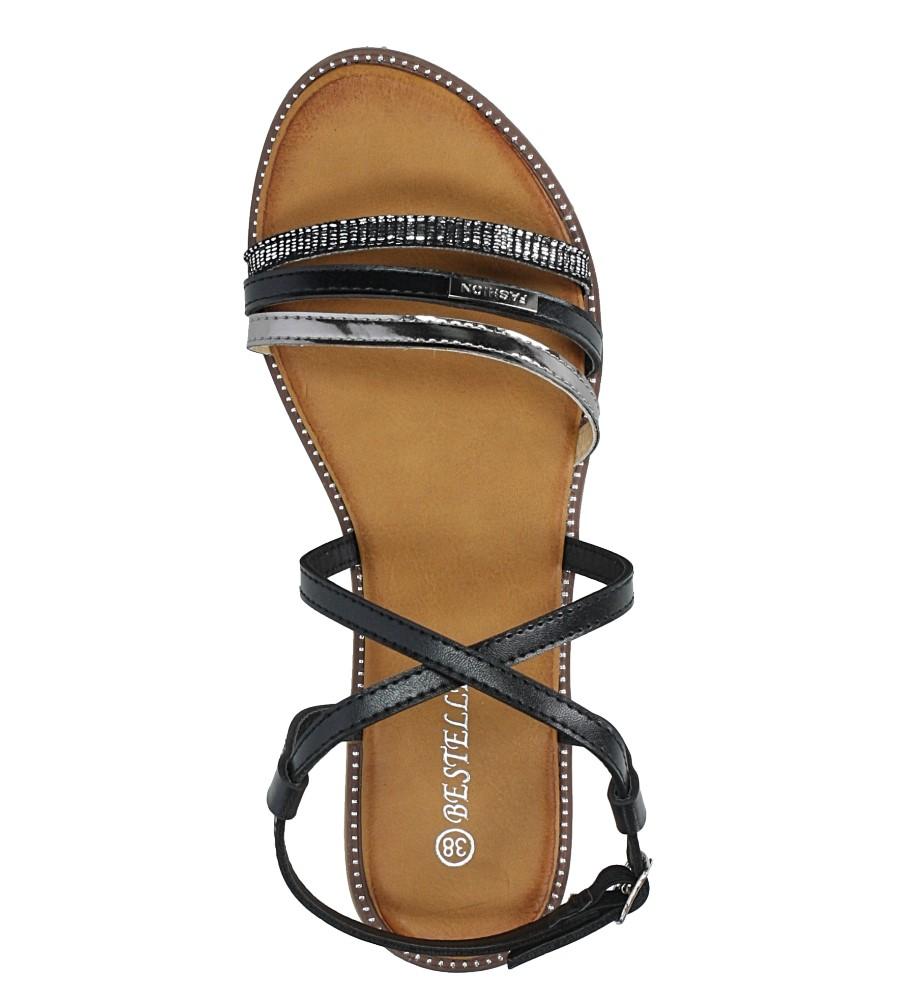 Czarne sandały płaskie Casu LS007  wysokosc_platformy 1 cm