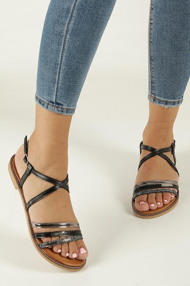 Czarne sandały płaskie Casu LS007  wierzch skóra ekologiczna