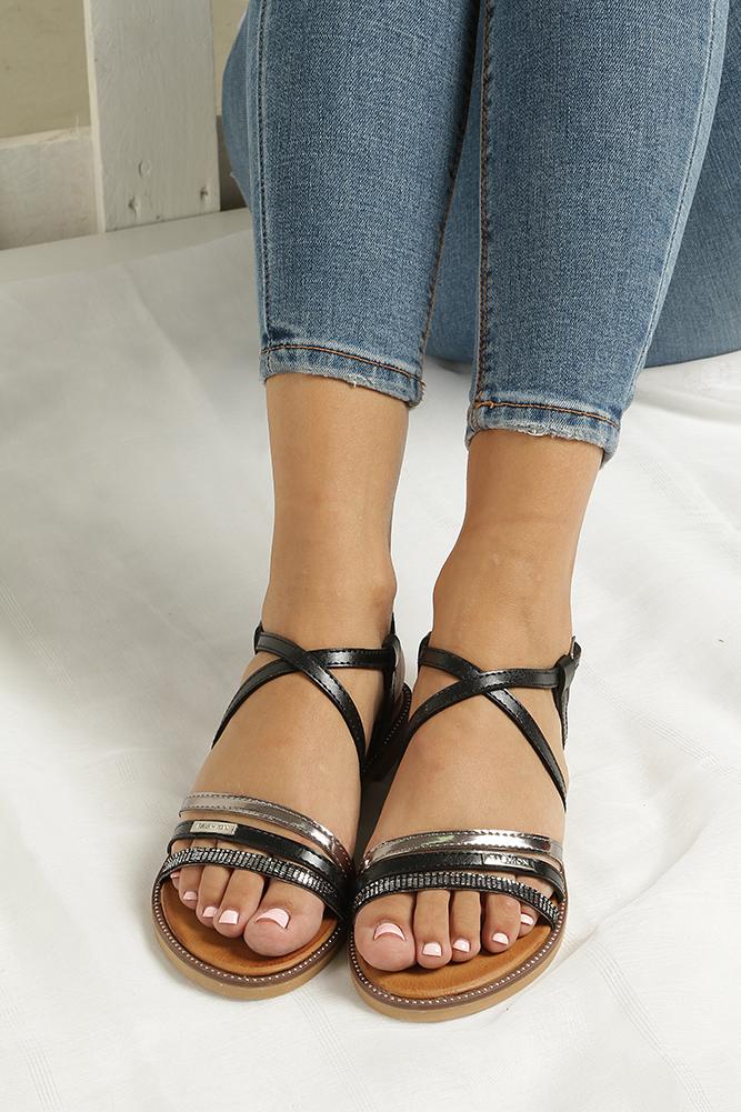 Czarne sandały płaskie Casu LS007  wnetrze skóra ekologiczna
