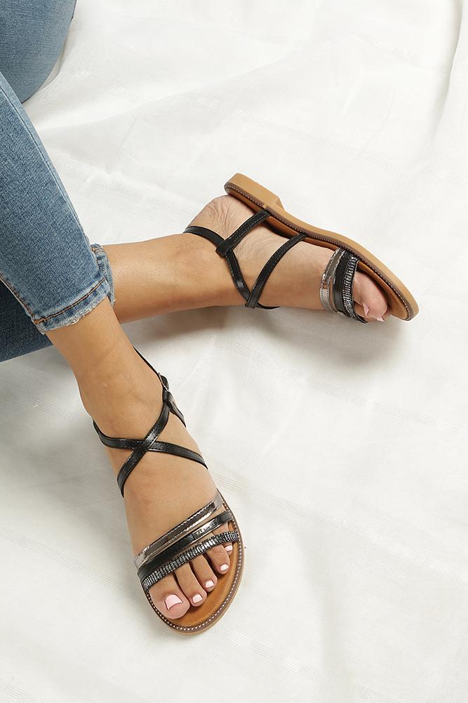 Czarne sandały płaskie Casu LS007  wkladka skóra ekologiczna