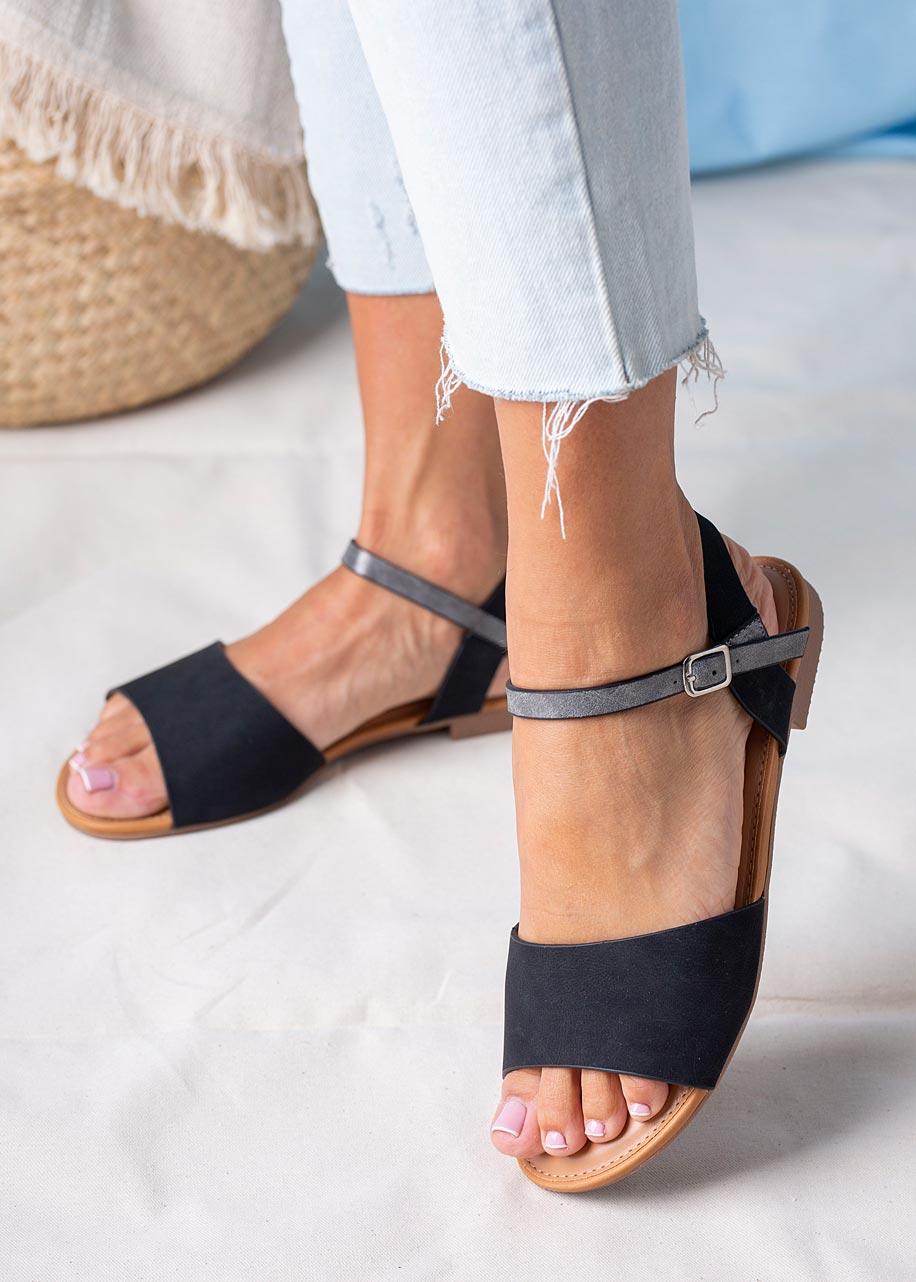 Czarne sandały płaskie Casu RT20X1/B producent Casu
