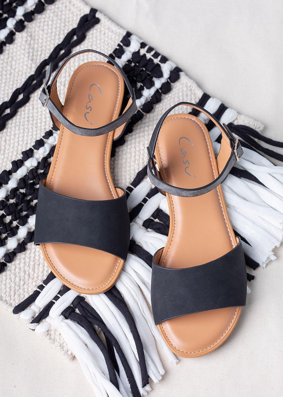 Czarne sandały płaskie Casu RT20X1/B model RT20X1/B