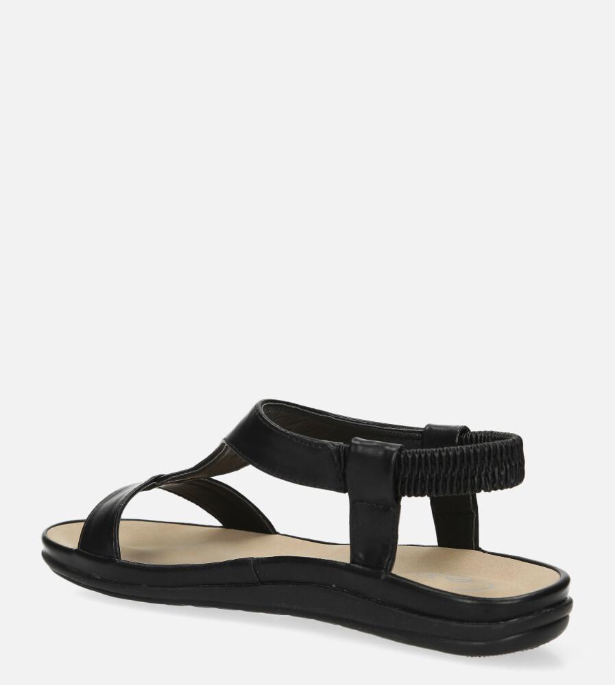 Czarne sandały płaskie z gumką i metalową ozdobą Casu N19X6/B wierzch skóra ekologiczna