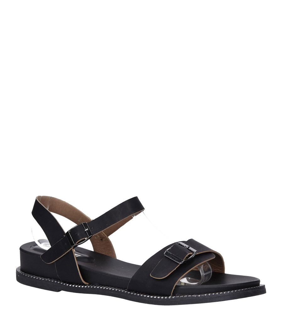 Czarne sandały płaskie z łańcuszkiem i ozdobną klamrą Casu K19X4/B