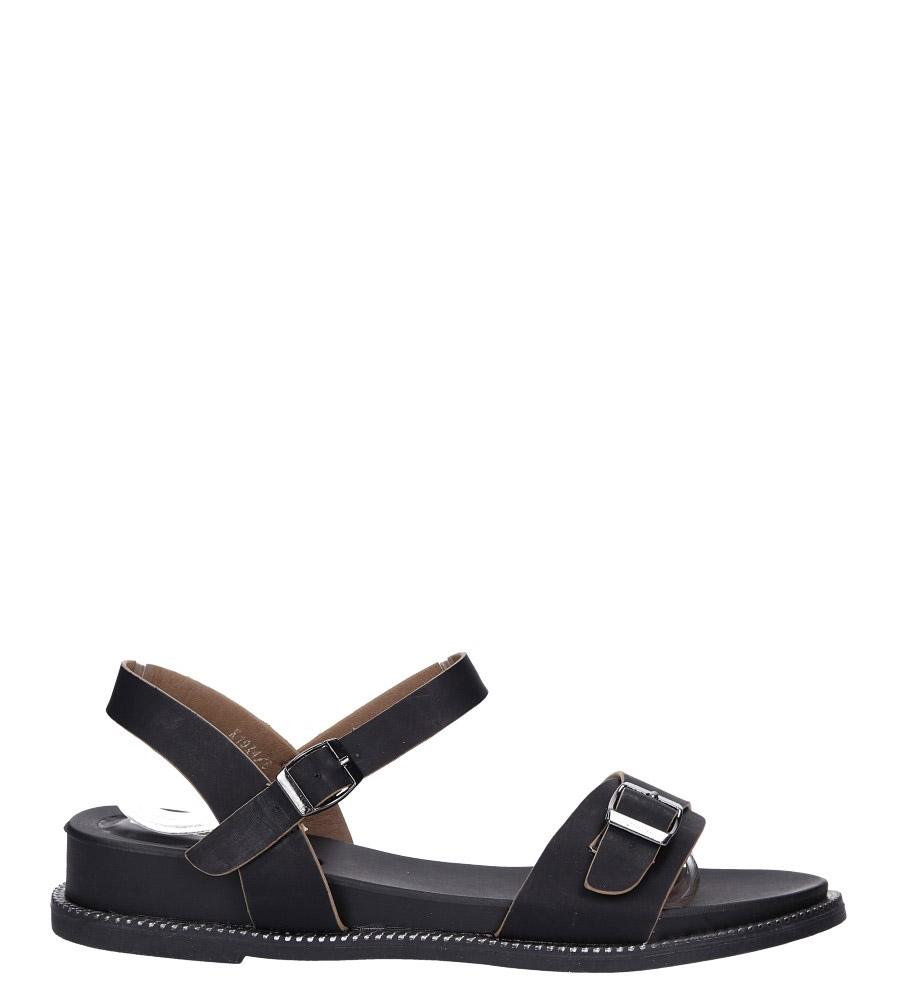 Czarne sandały płaskie z łańcuszkiem i ozdobną klamrą Casu K19X4/B wysokosc_platformy 1 cm