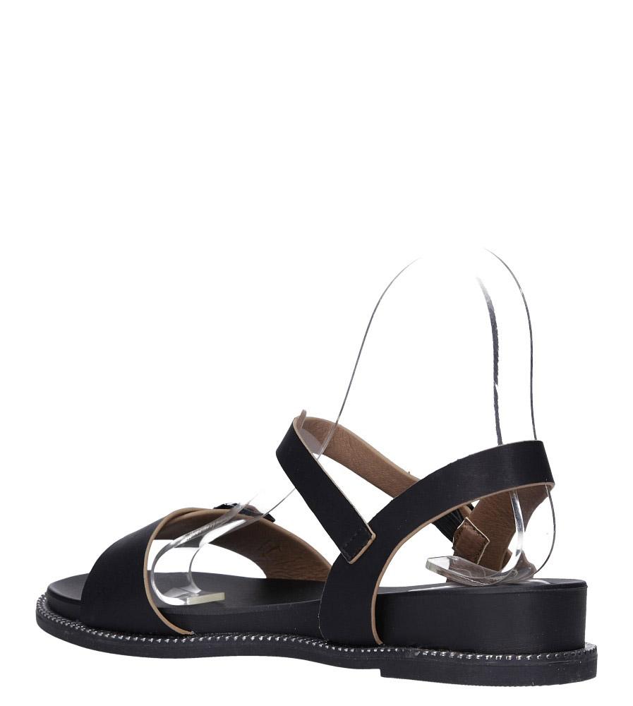 Czarne sandały płaskie z łańcuszkiem i ozdobną klamrą Casu K19X4/B wys_calkowita_buta 9 cm