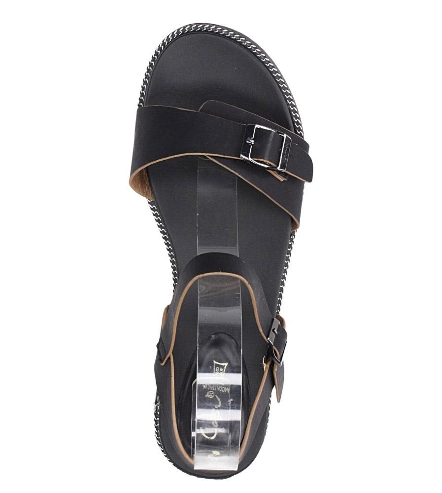 Czarne sandały płaskie z łańcuszkiem i ozdobną klamrą Casu K19X4/B wierzch skóra ekologiczna