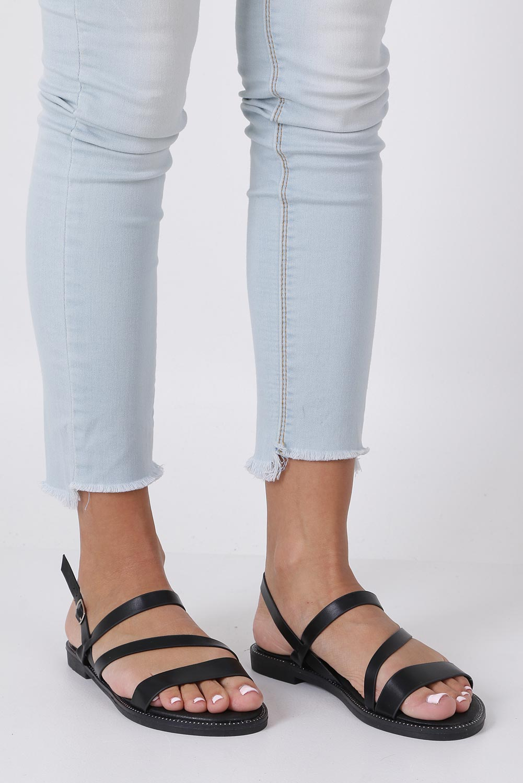 Czarne sandały płaskie z nitami Casu SN19X3/B producent Casu