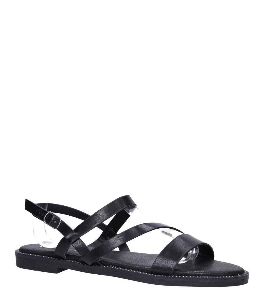 Czarne sandały płaskie z nitami Casu SN19X3/B