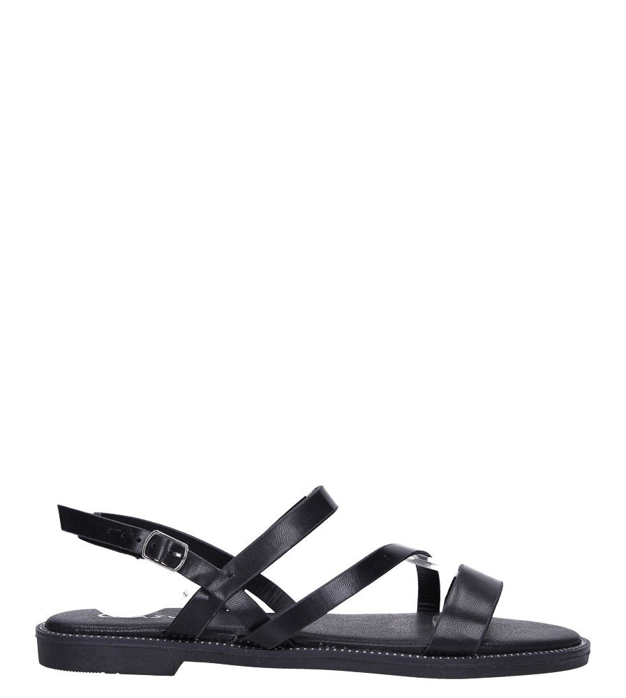 Czarne sandały płaskie z nitami Casu SN19X3/B wysokosc_obcasa 1.5 cm