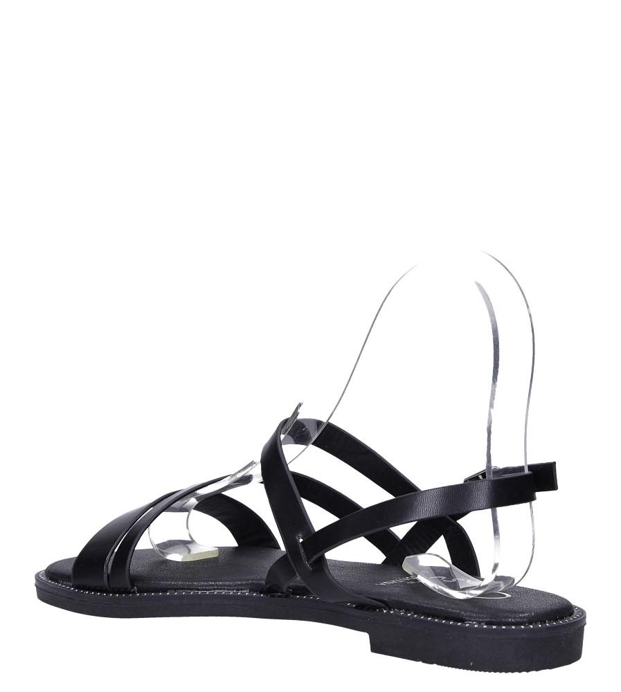 Czarne sandały płaskie z nitami Casu SN19X3/B wysokosc_platformy 1 cm