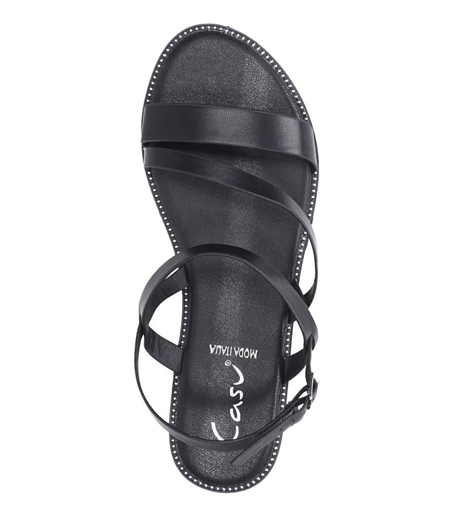 Czarne sandały płaskie z nitami Casu SN19X3/B wys_calkowita_buta 11 cm