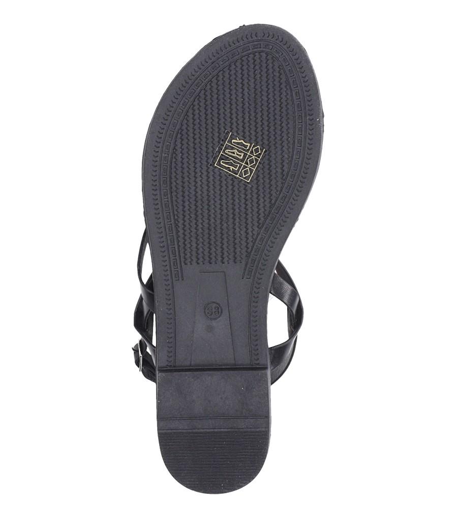Czarne sandały płaskie z nitami Casu SN19X3/B wierzch skóra ekologiczna