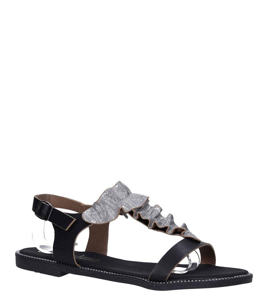 Czarne sandały płaskie z nitami i ozdobną falbanką Casu K19X6/B