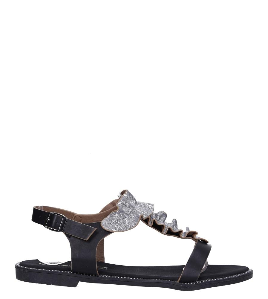 Czarne sandały płaskie z nitami i ozdobną falbanką Casu K19X6/B wysokosc_obcasa 1.5 cm