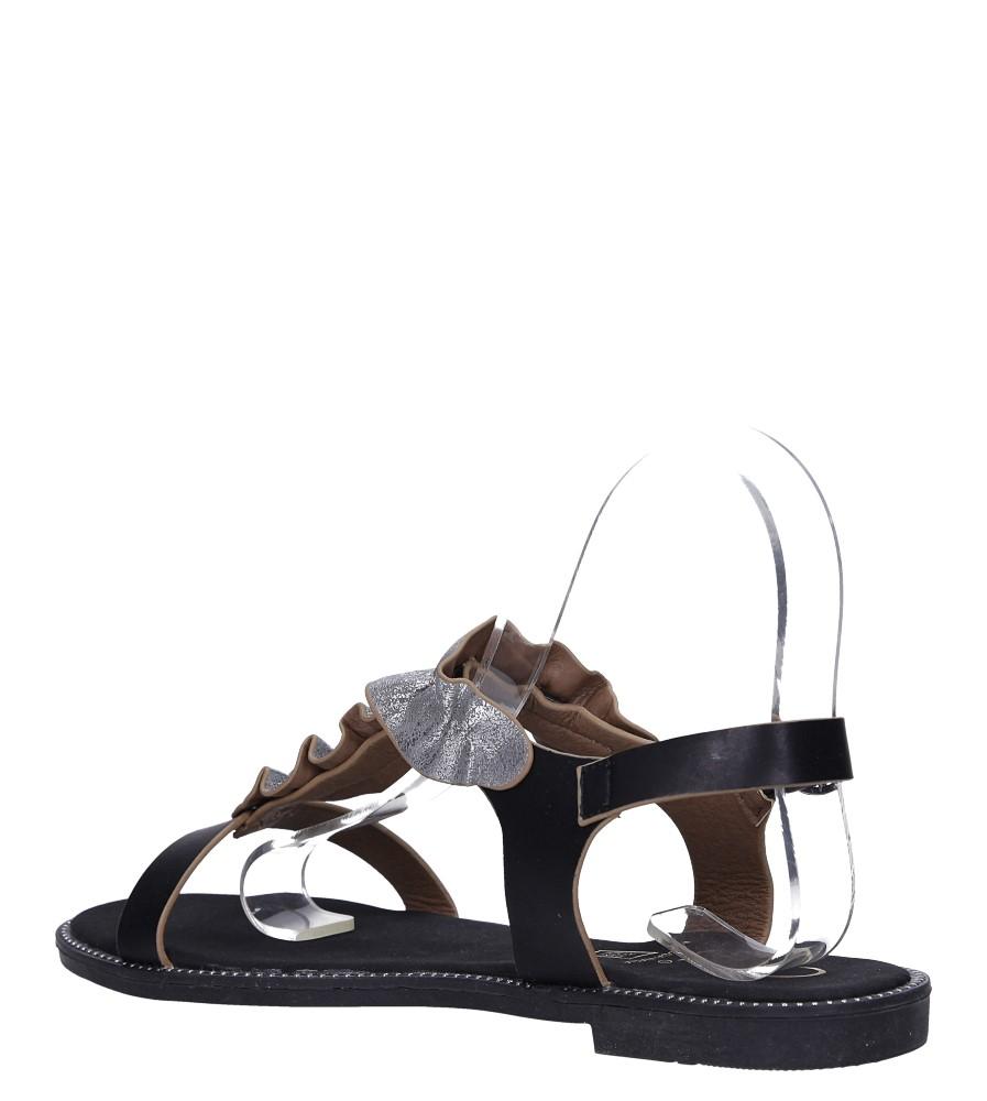 Czarne sandały płaskie z nitami i ozdobną falbanką Casu K19X6/B wysokosc_platformy 1 cm