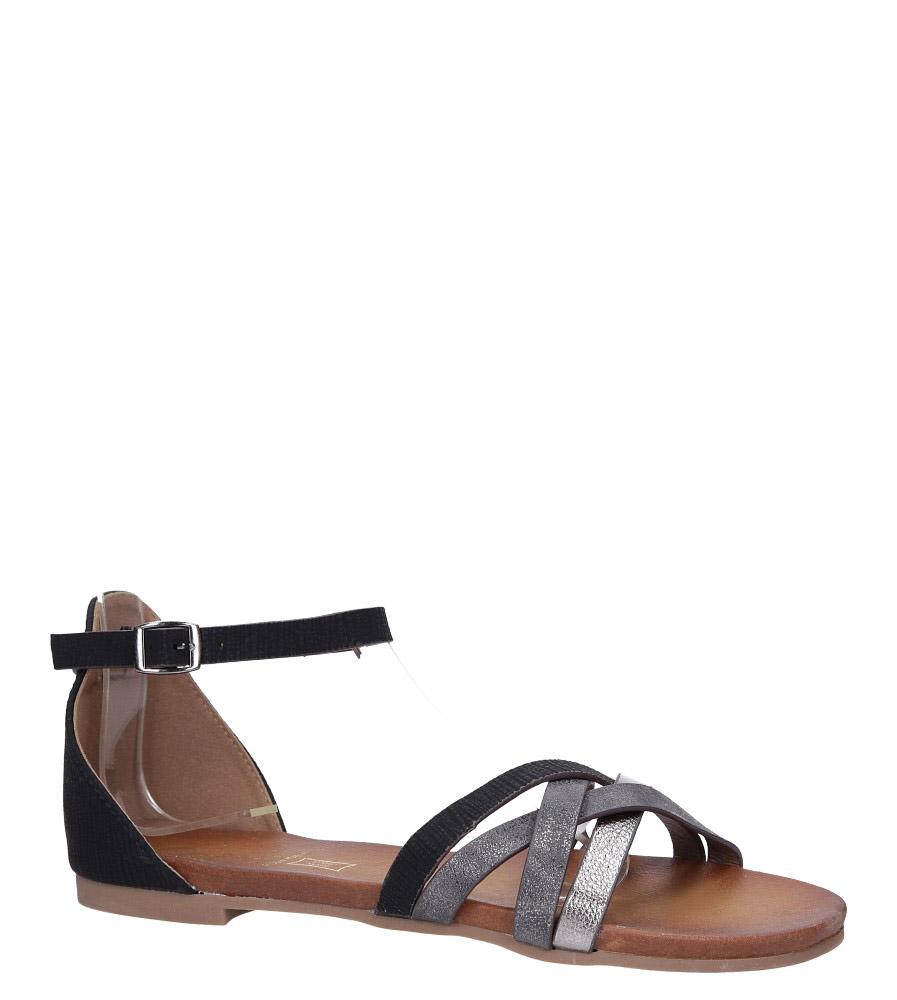 Czarne sandały płaskie z zakrytą piętą i paskiem wokół kostki Casu K18X9/BN czarny