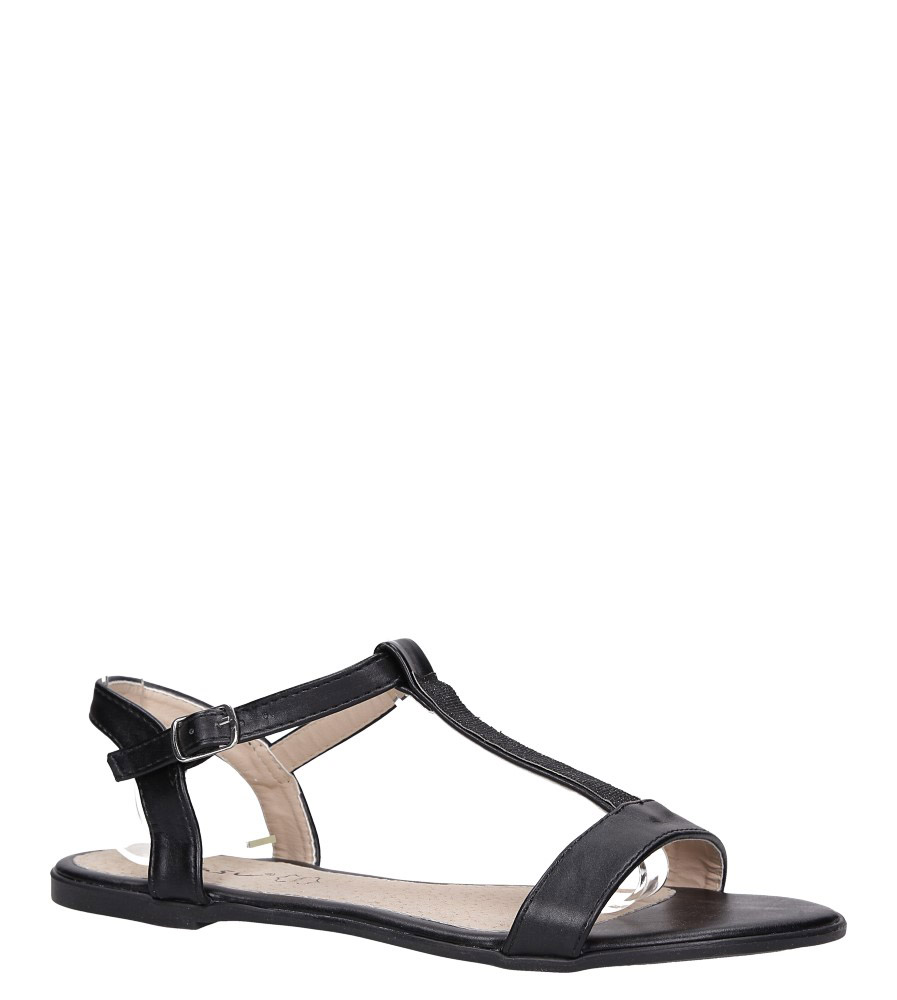Czarne sandały płaskie ze skórzaną wkładką brokatowy pasek Casu S19X2/B