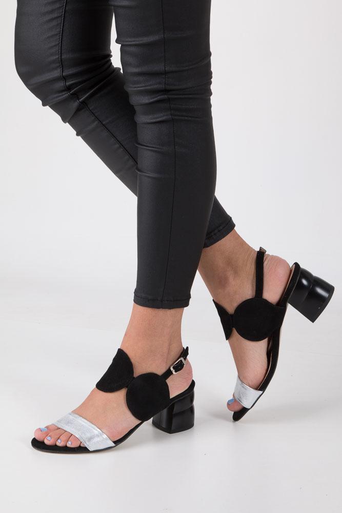 Czarne sandały skórzane na ozdobnym obcasie Oleksy 2292/147/963/000/000