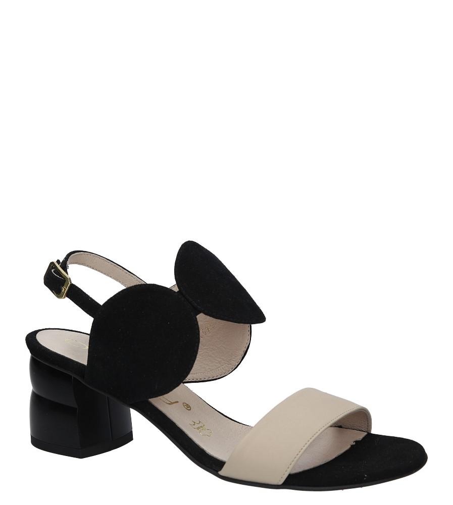 Czarne sandały skórzane na ozdobnym obcasie Oleksy 2292/147/B19/000/000 czarny