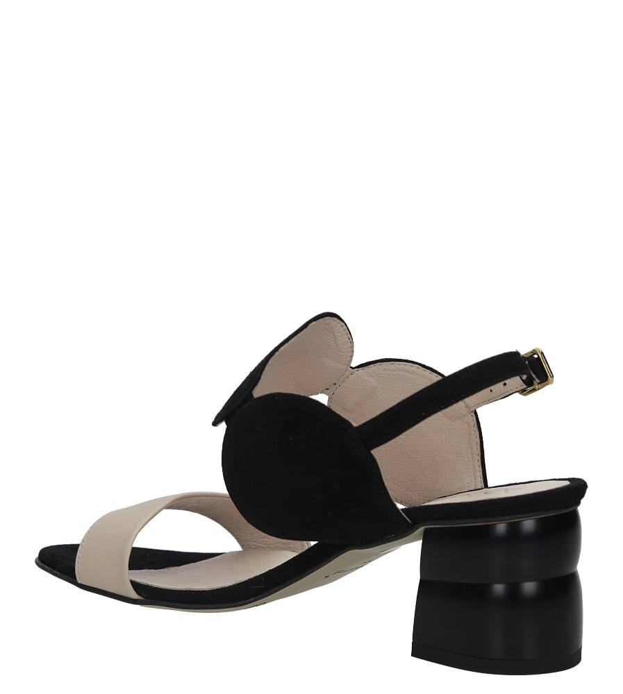Czarne sandały skórzane na ozdobnym obcasie Oleksy 2292/147/B19/000/000 wysokosc_obcasa 6.5 cm