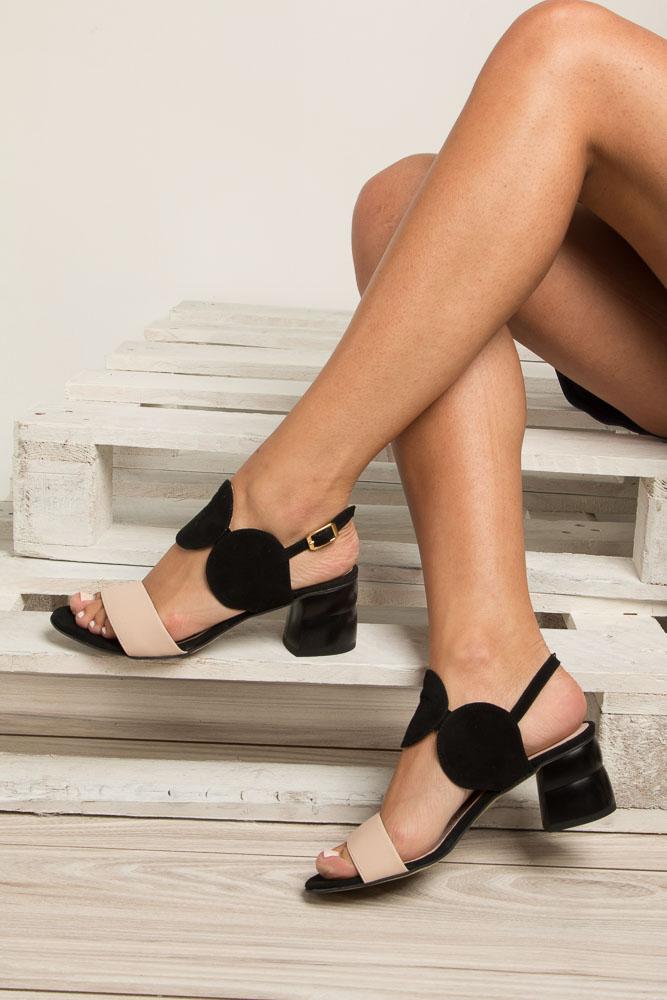 Czarne sandały skórzane na ozdobnym obcasie Oleksy 2292/147/B19/000/000 wys_calkowita_buta 16 cm