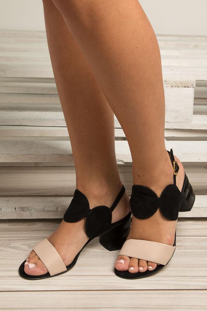 Czarne sandały skórzane na ozdobnym obcasie Oleksy 2292/147/B19/000/000 wierzch skóra naturalna - welur