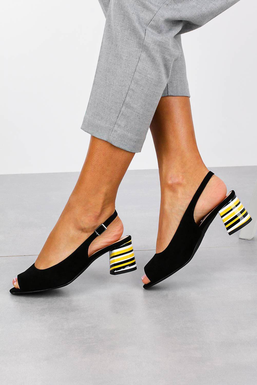 Czarne sandały skórzane na ozdobnym szerokim obcasie Casu DS-346/A producent Casu