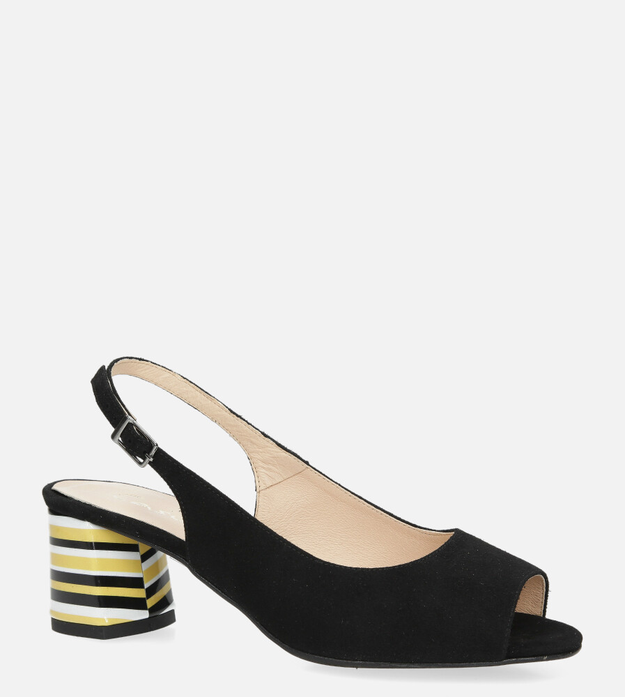 Czarne sandały skórzane na ozdobnym szerokim obcasie Casu DS-346/A