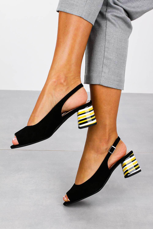Czarne sandały skórzane na ozdobnym szerokim obcasie Casu DS-346/A sezon Lato