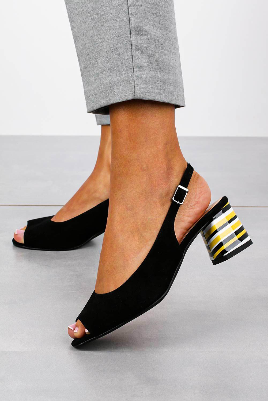 Czarne sandały skórzane na ozdobnym szerokim obcasie Casu DS-346/A wysokosc_obcasa 6.5 cm