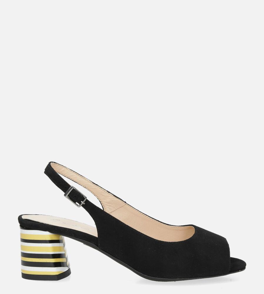 Czarne sandały skórzane na ozdobnym szerokim obcasie Casu DS-346/A wysokosc_platformy 0.5 cm