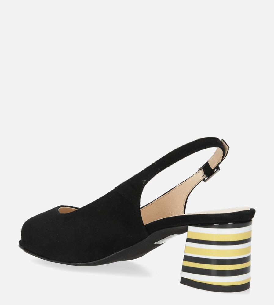 Czarne sandały skórzane na ozdobnym szerokim obcasie Casu DS-346/A wys_calkowita_buta 14 cm