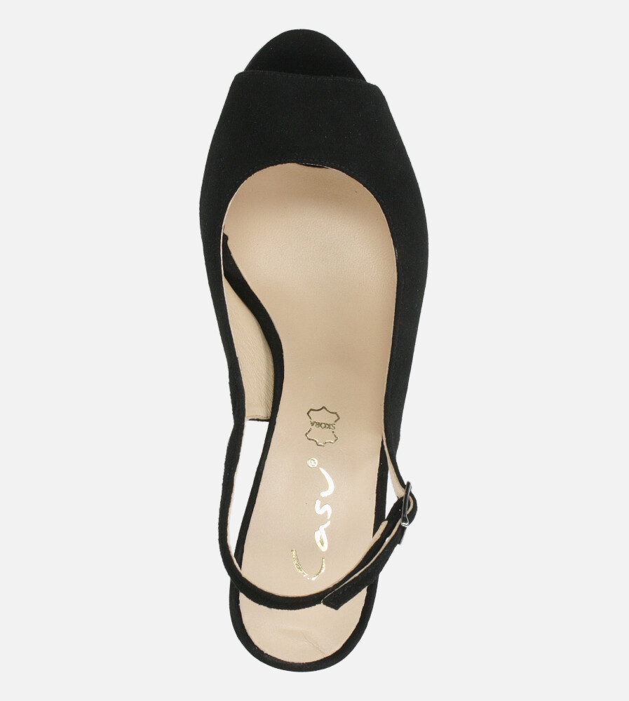 Czarne sandały skórzane na ozdobnym szerokim obcasie Casu DS-346/A wierzch skóra naturalna - zamsz