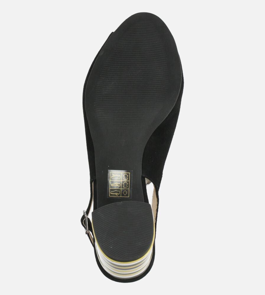 Czarne sandały skórzane na ozdobnym szerokim obcasie Casu DS-346/A wnetrze skóra