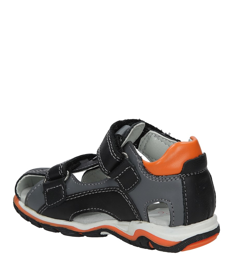 Czarne sandały skórzane na rzepy Casu F-200 kolor czarny, pomarańczowy