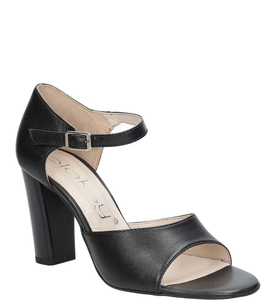 Czarne sandały skórzane na słupku Oleksy 2295/320/000/000/000