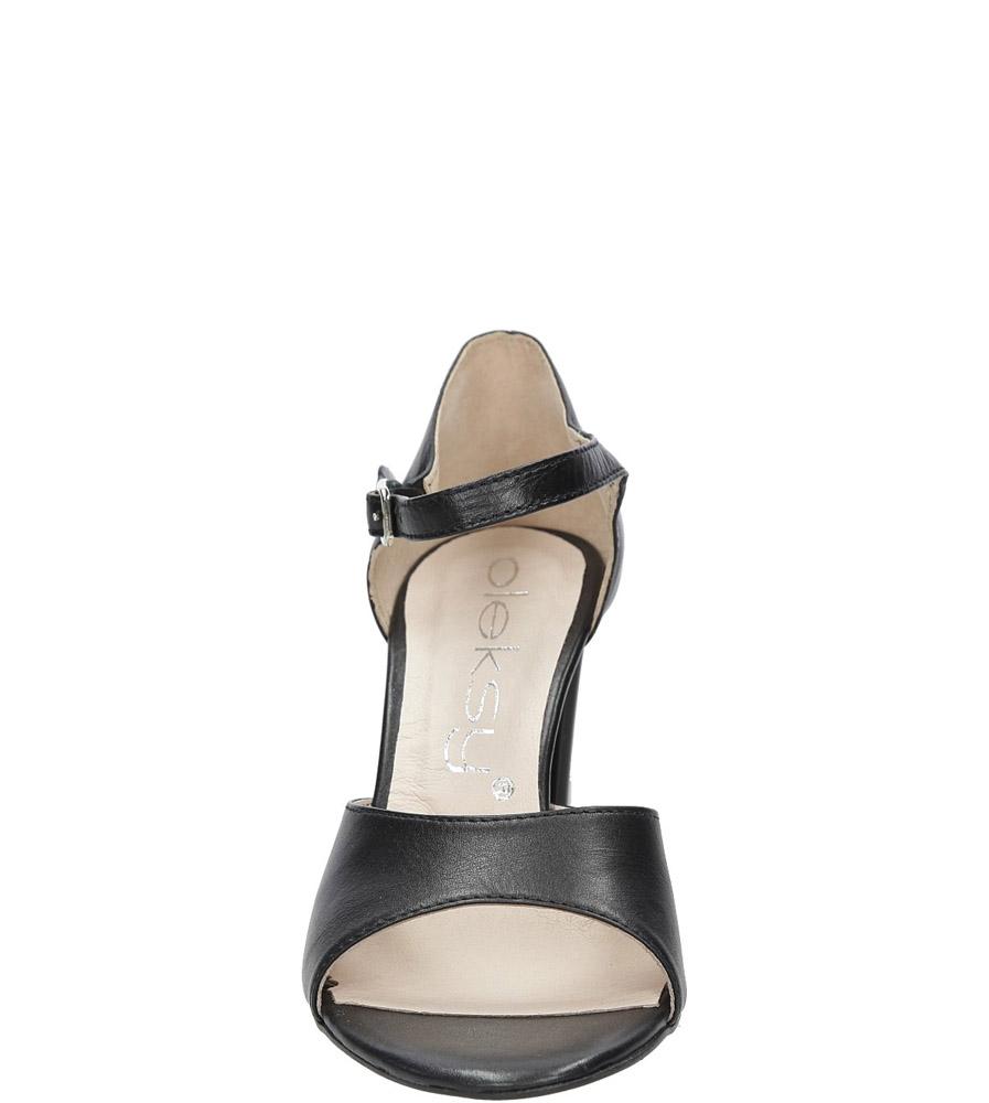 Czarne sandały skórzane na słupku Oleksy 2295/320/000/000/000 kolor czarny