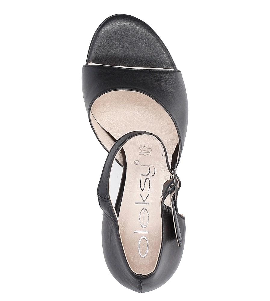 Czarne sandały skórzane na słupku Oleksy 2295/320/000/000/000 wysokosc_platformy 0.5 cm