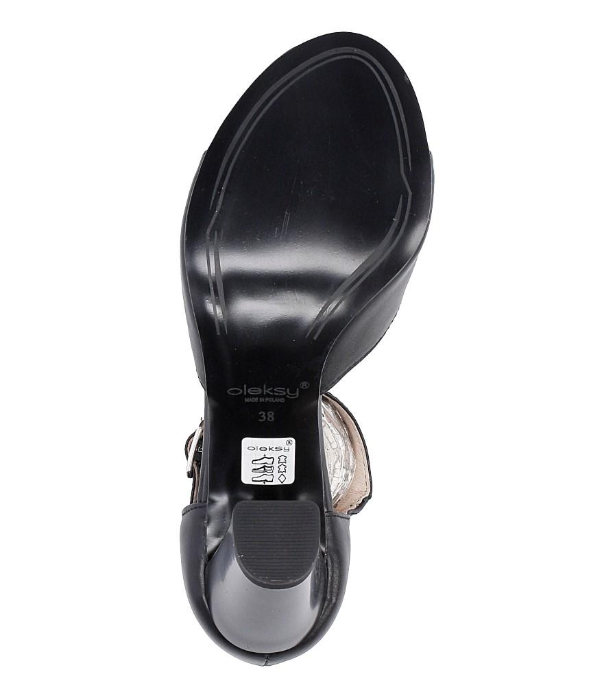 Czarne sandały skórzane na słupku Oleksy 2295/320/000/000/000 wys_calkowita_buta 16 cm