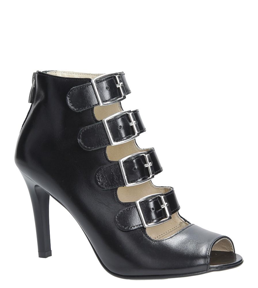 Czarne sandały skórzane na szpilce z ozdobnymi klamrami Oleksy 546/575 czarny